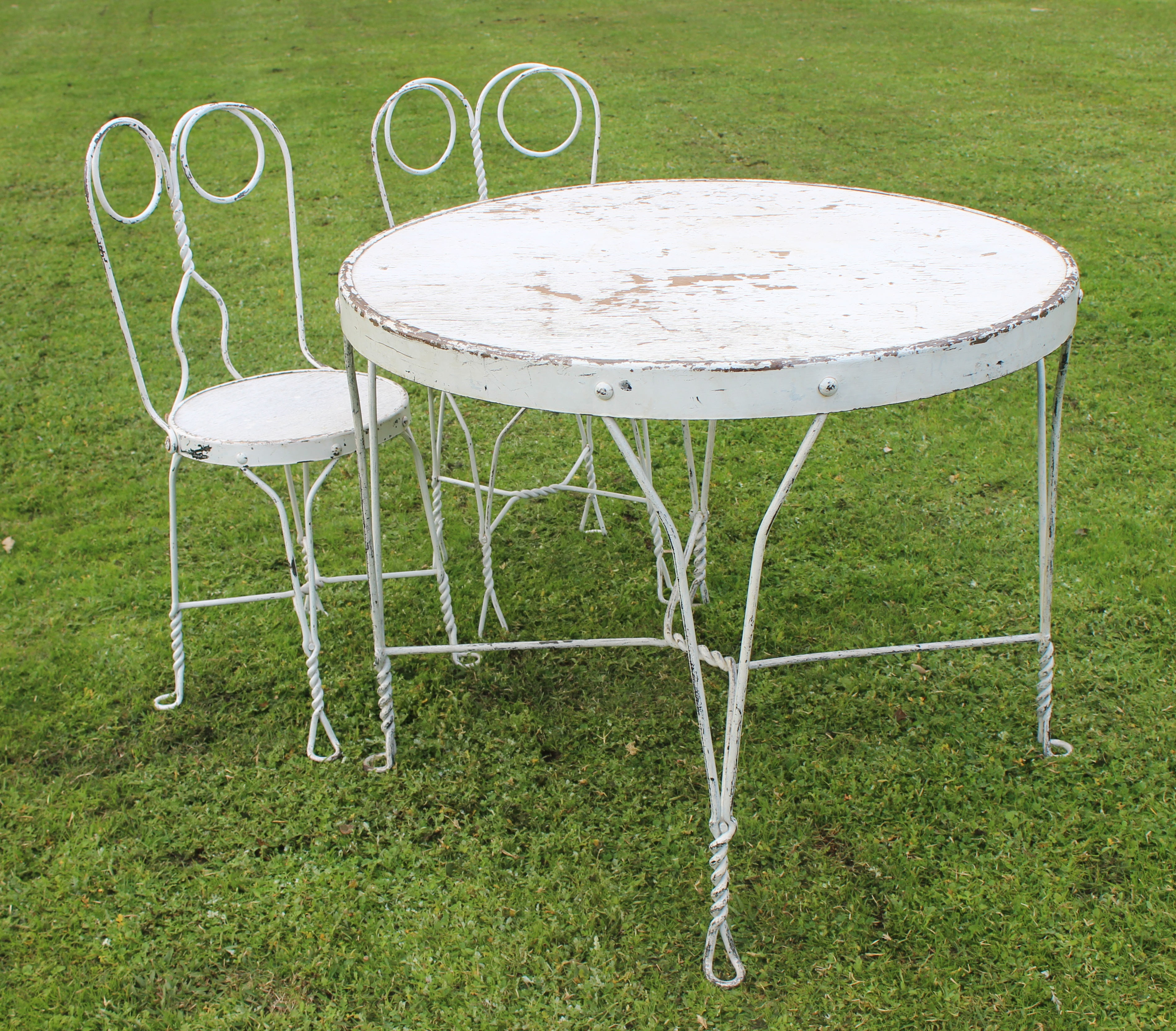 Vintage Wrought Iron Signing Table and Chairs