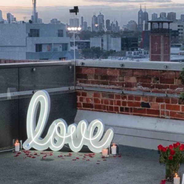 neon sign, love, light,lantern,copper, vintage, rustic, boho, melbourne, ceremony, wedding hire,event, prop
