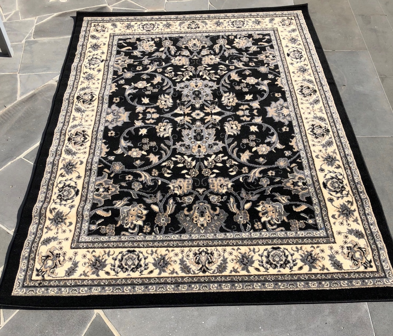 Persian Style Black Patterned Rug - A Day To