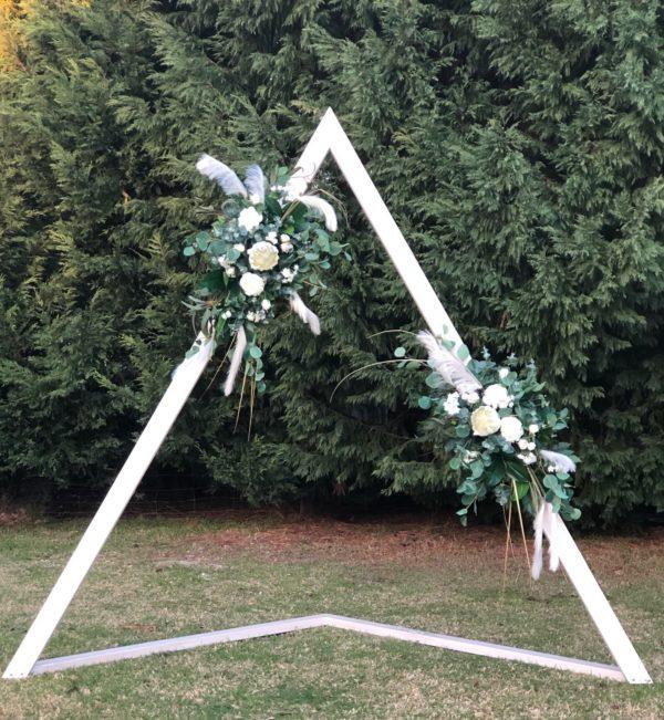 vintage, rustic, boho, melbourne, ceremony, wedding hire,event, arbor, triangle, arch, ceremony, artificial florals