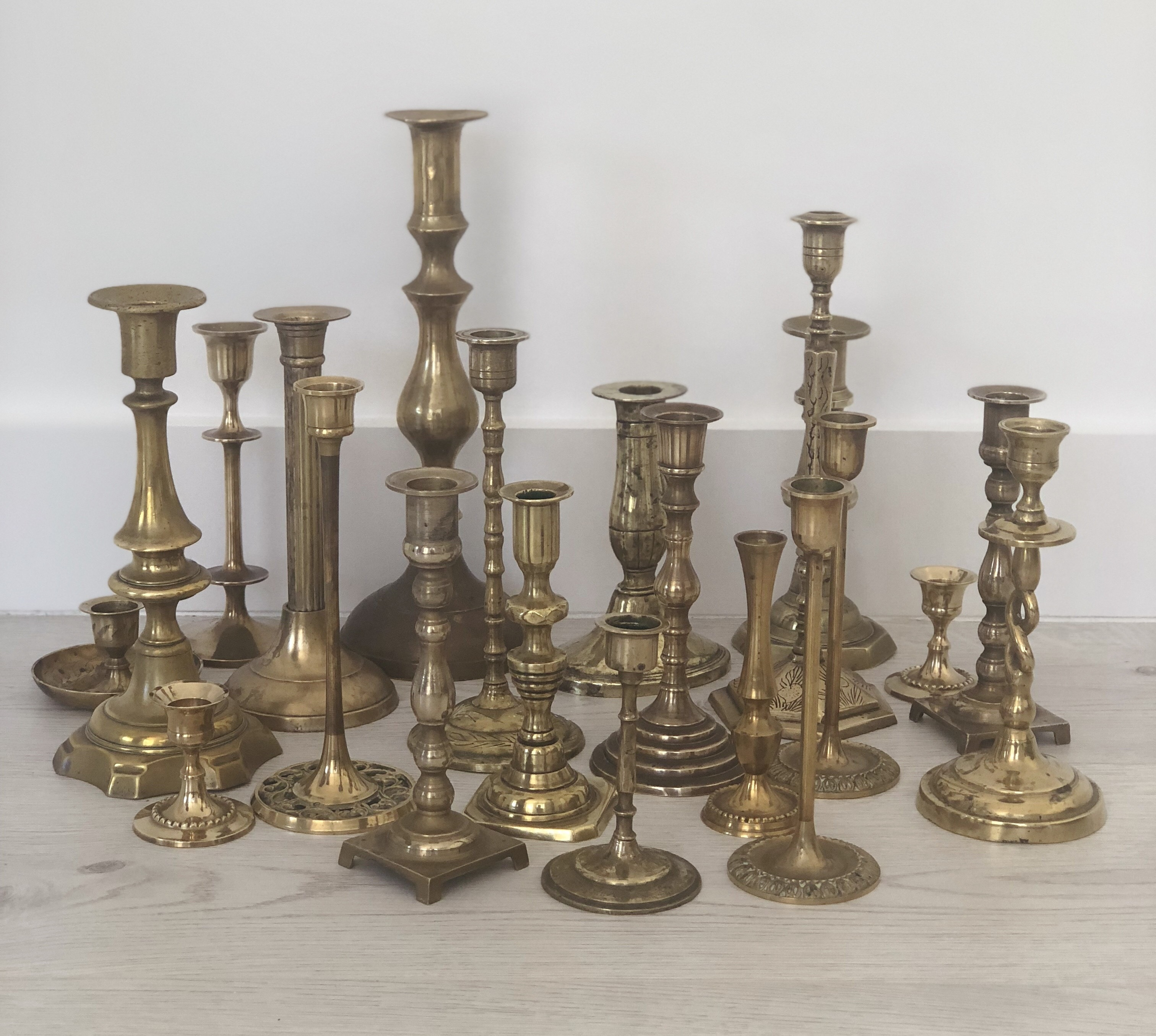 Assorted Brass Candlestick Holders A Day To Remember Event Hire