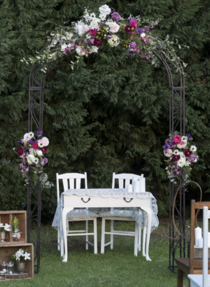 vintage, rustic, boho, melbourne, arbor, arch, wrought iron, ceremony, wedding hire,event, prop
