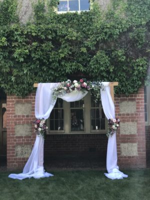 artificial florals, timber arch, event hire, wedding, arch, melbourne