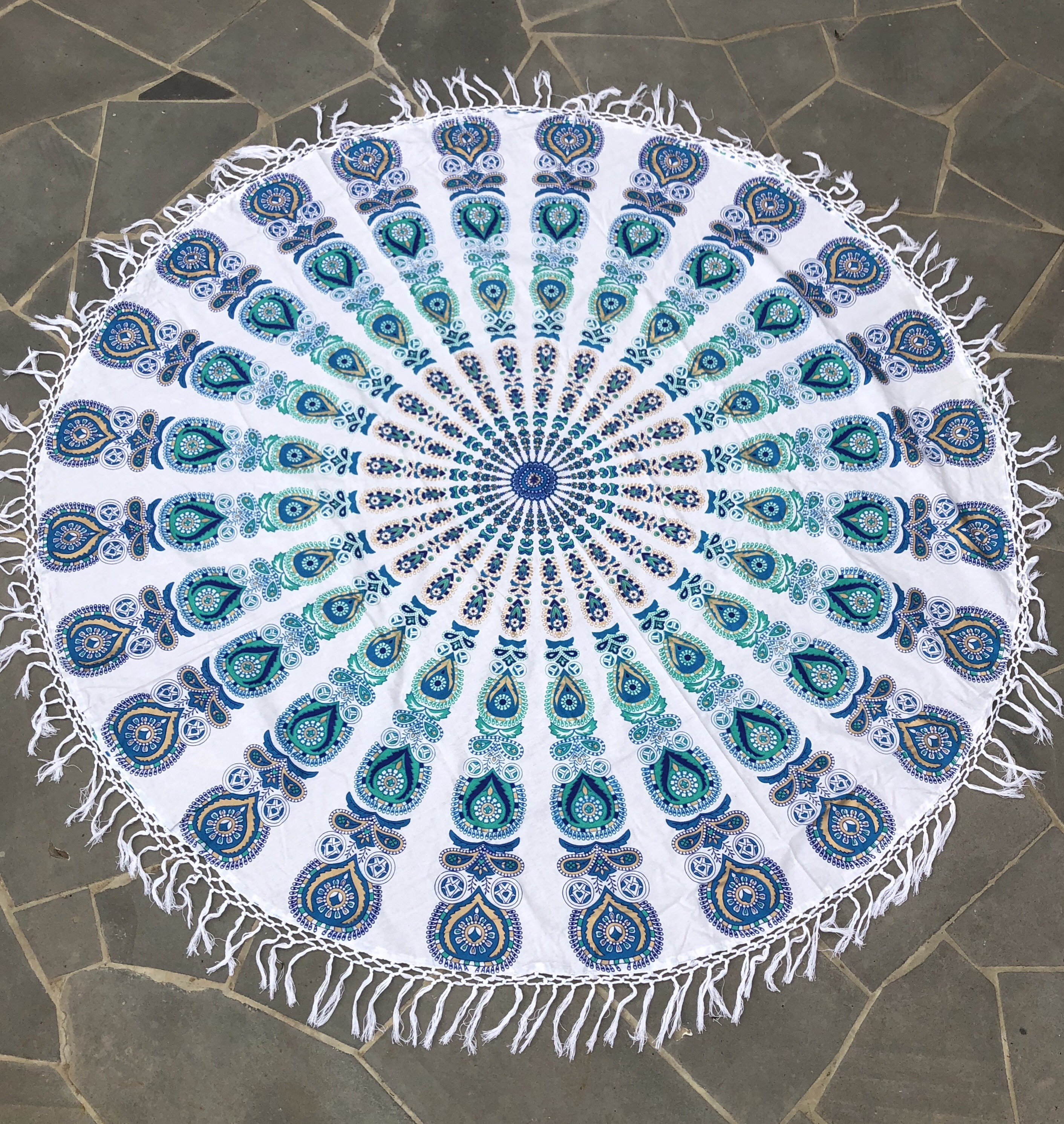 Rugs Circular Boho Throw White And Blue A Day To Remember Event Hire