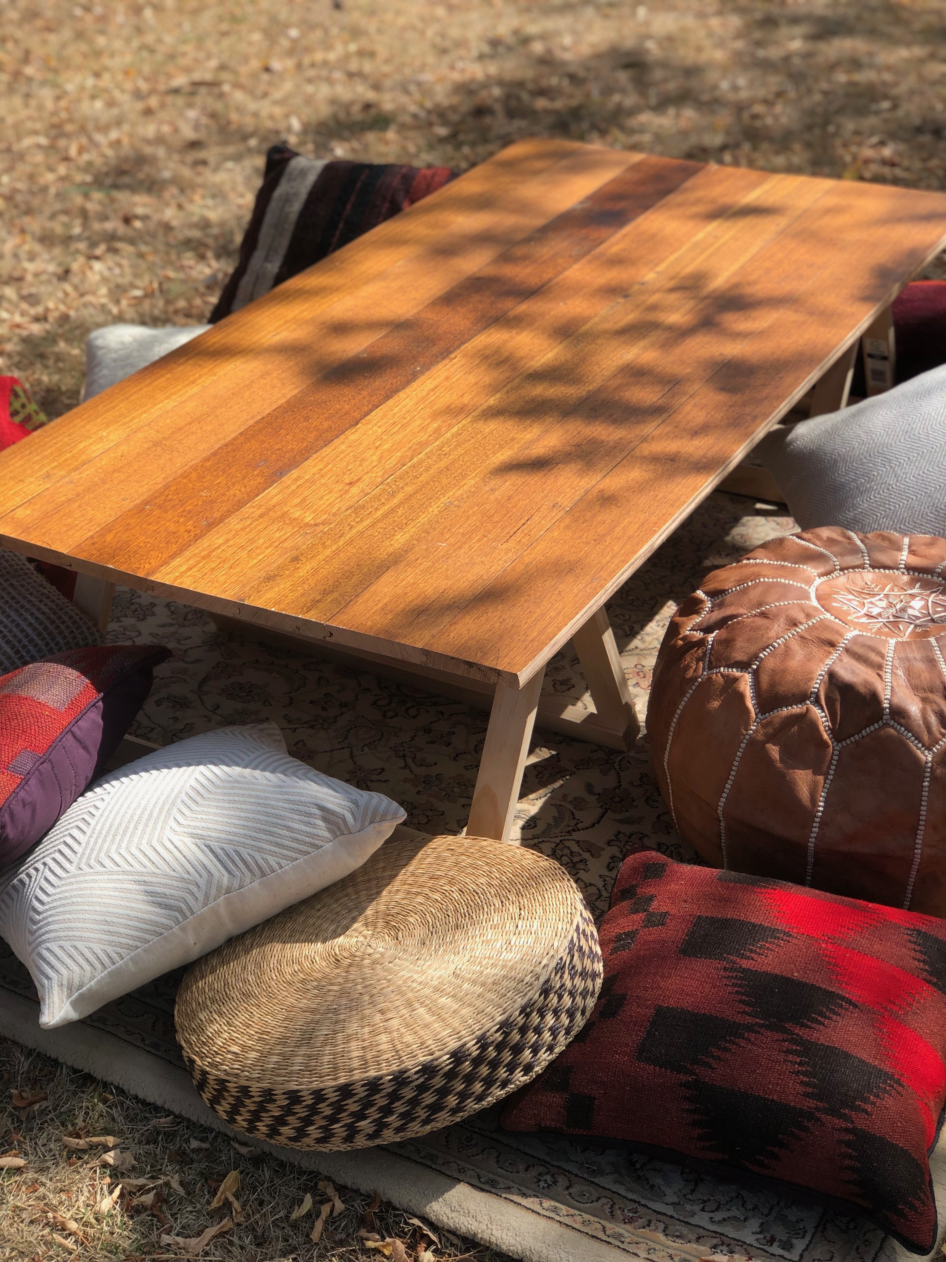 Low Lying Timber Trestle Table