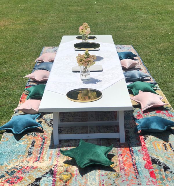 low lying trestle, table, boho, picnic, ceremony, wedding hire, melbourne, prop, kids party, picnic package, birthday, glamping