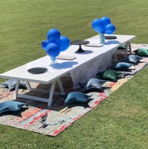 low lying trestle, table, boho, picnic, ceremony, wedding hire, melbourne, prop, kids party, picnic package, birthday, boys party