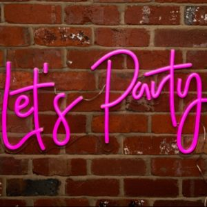 neon sign, pink, lets party, sign, vintage, boho, rustic, event hire, wedding hire, prop hire, melbourne