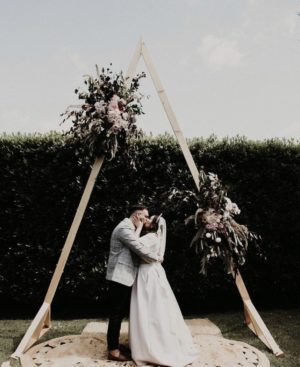 vintage, rustic, boho, melbourne, ceremony, wedding hire,event, arbor, triangle, arch, ceremony, artificial florals