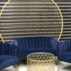 modern lounge, luxe, event hire, prop hire, wedding, birthday, bridal shower, melbourne, blue, royal blue