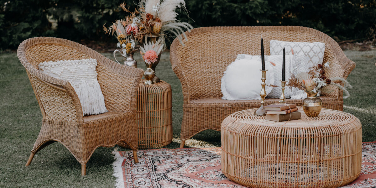wedding, melbourne, event hire, arbor, vintage, boho, outdoor wicker setting
