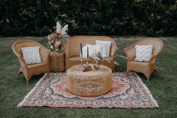 cane lounge, boho, wicker, event hire, melbourne, wedding, picnic