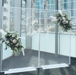 artificial florals, backdrop, mesh backdrop, wedding, arbor, melbourne, event hire